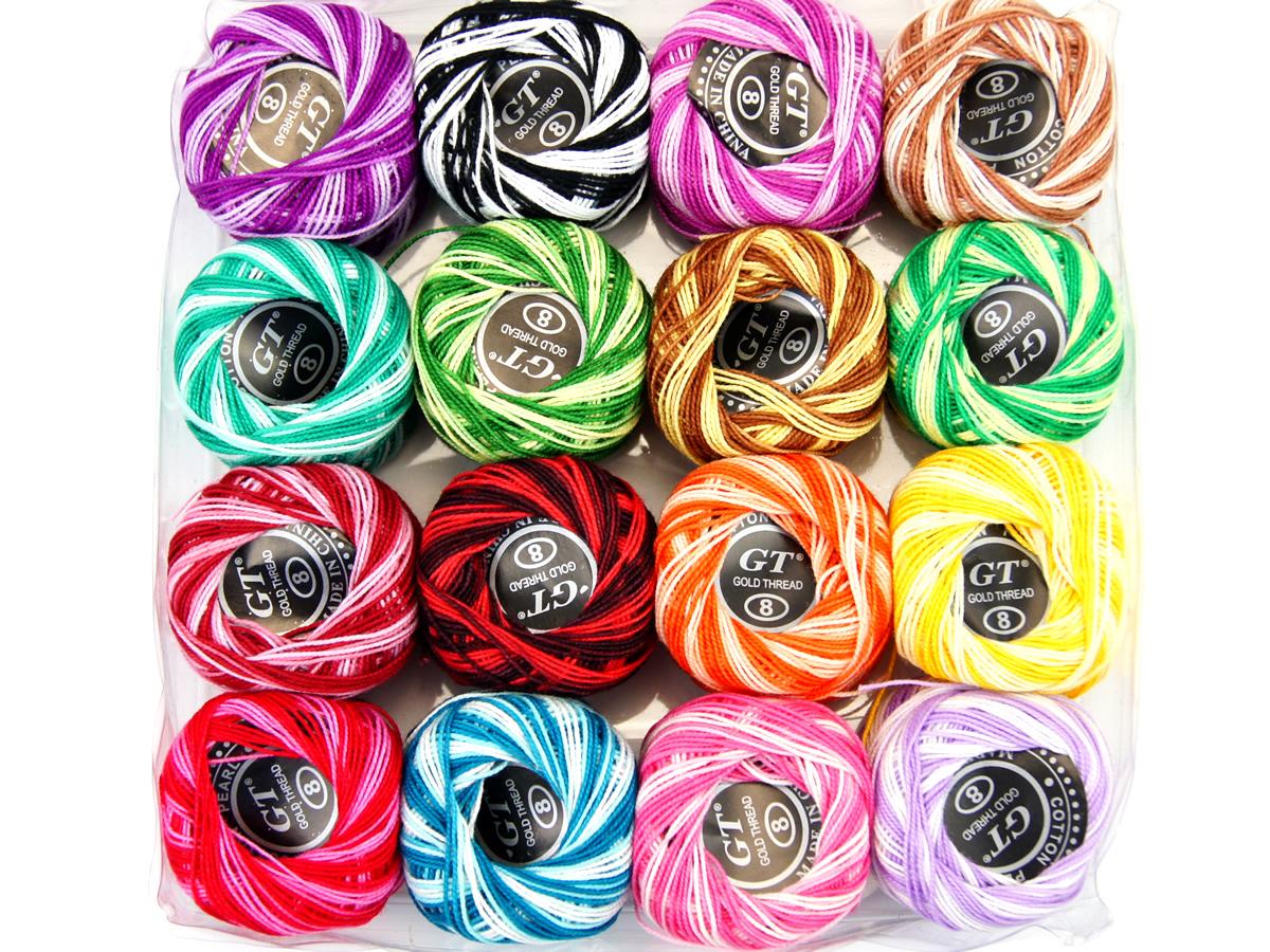 Kordonki bawełniane cieniowane - zestaw 16 kolorów
